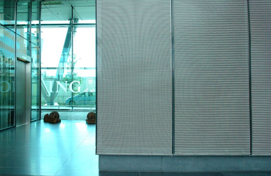 Wire facade mesh / for interior / solar shading / for ceilings ...