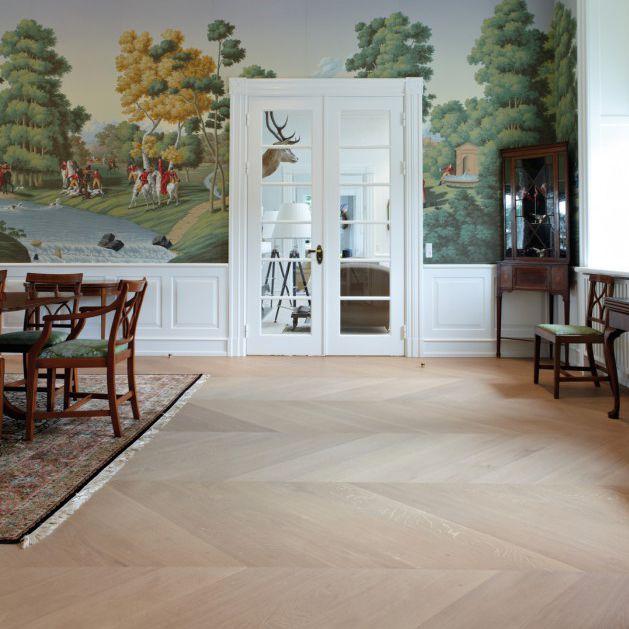 Solid Parquet Floor Glued Nailed Oak Grandpattern Dinesen