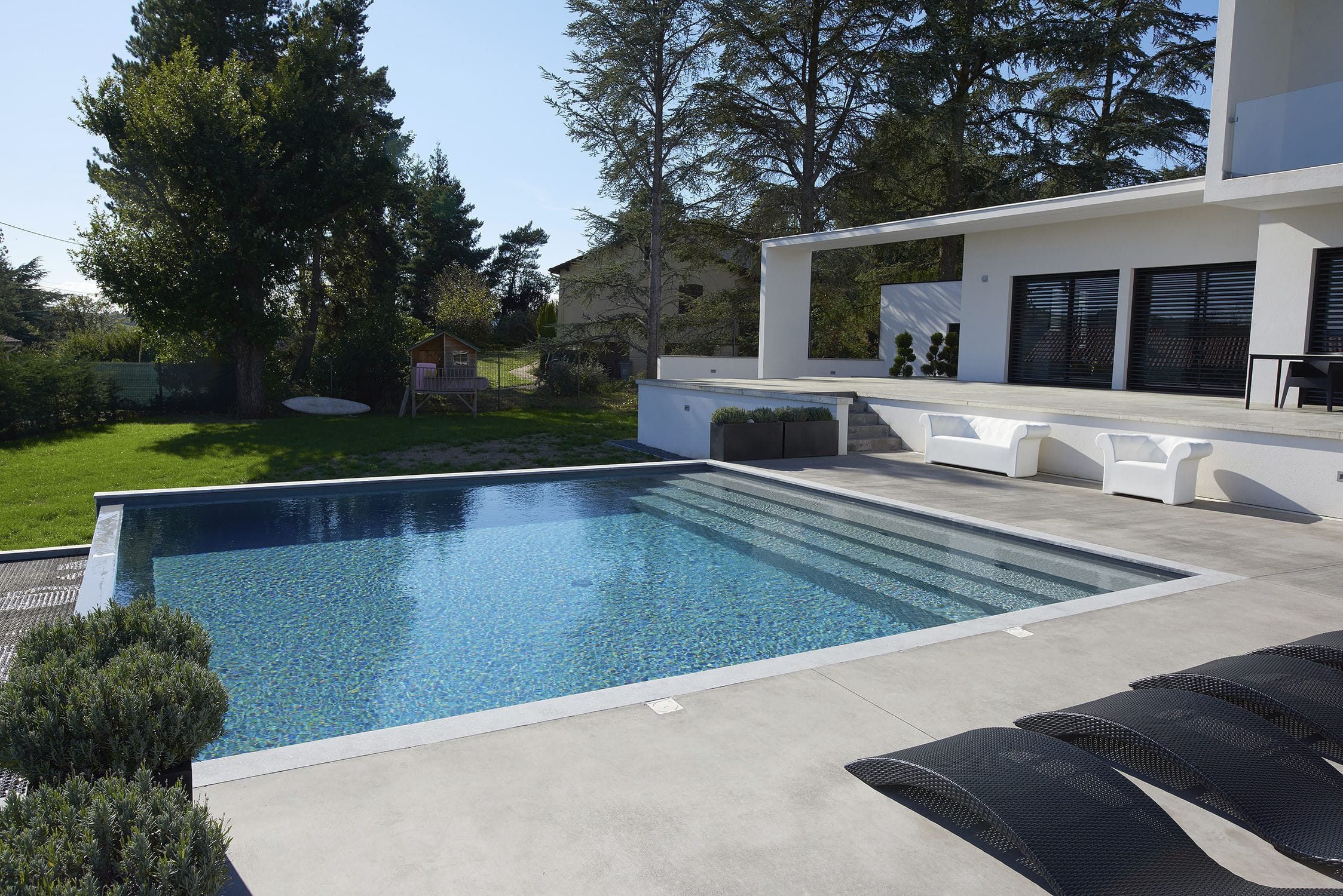In Ground Swimming Pool Concrete Outdoor Domino St Etienne