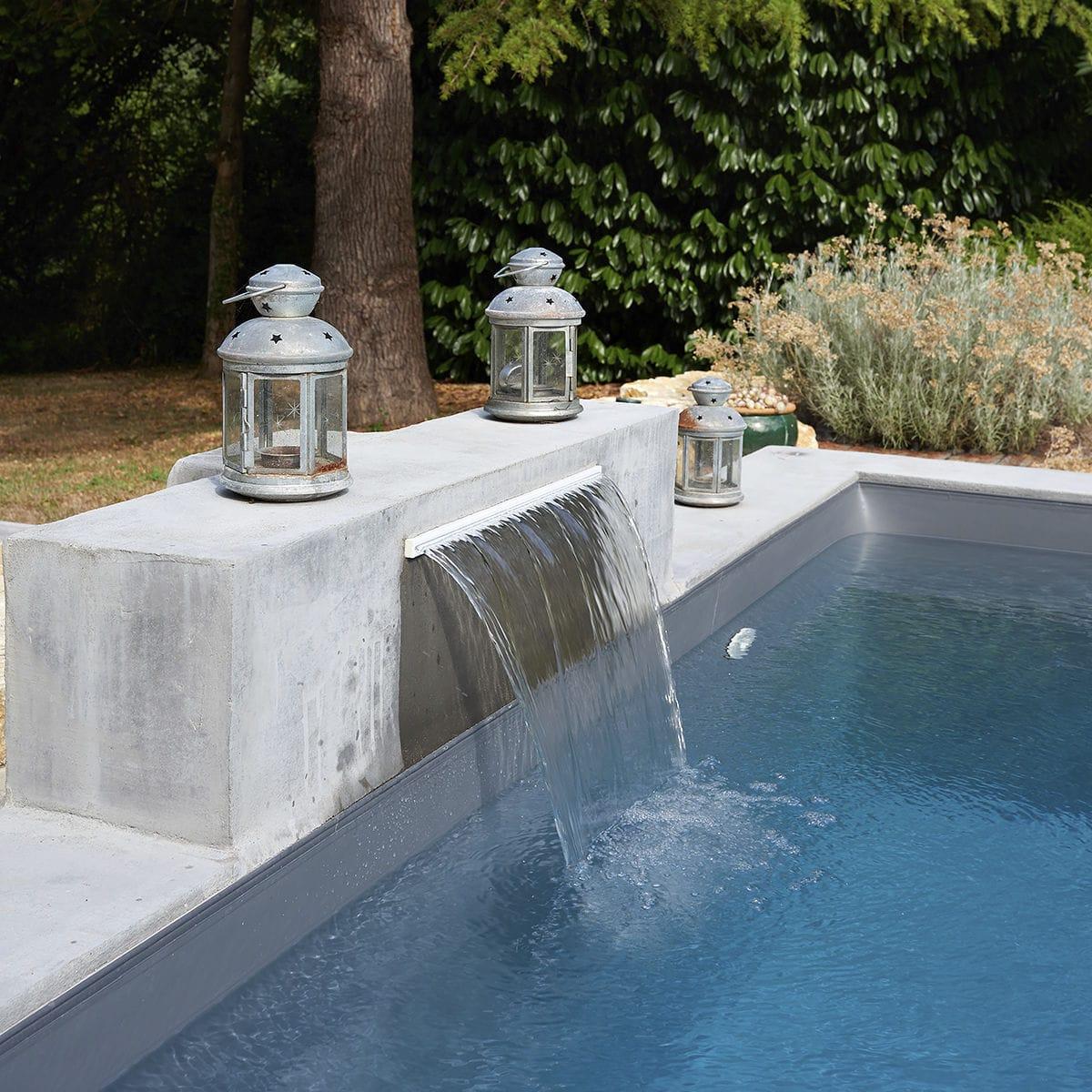 Swimming Pool Waterfall Lame D Eau Poitiers Piscines Carre Bleu