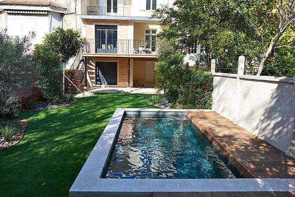 Semi Inground Swimming Pool Wooden Slate Custom Petite