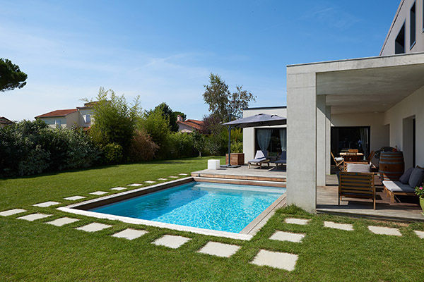 In Ground Swimming Pool Wooden Mineral Stone Custom Piscine