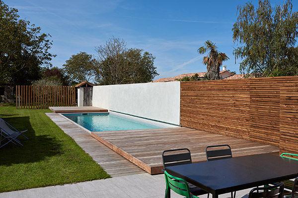 In Ground Swimming Pool Wooden Custom Lap Piscine Avec