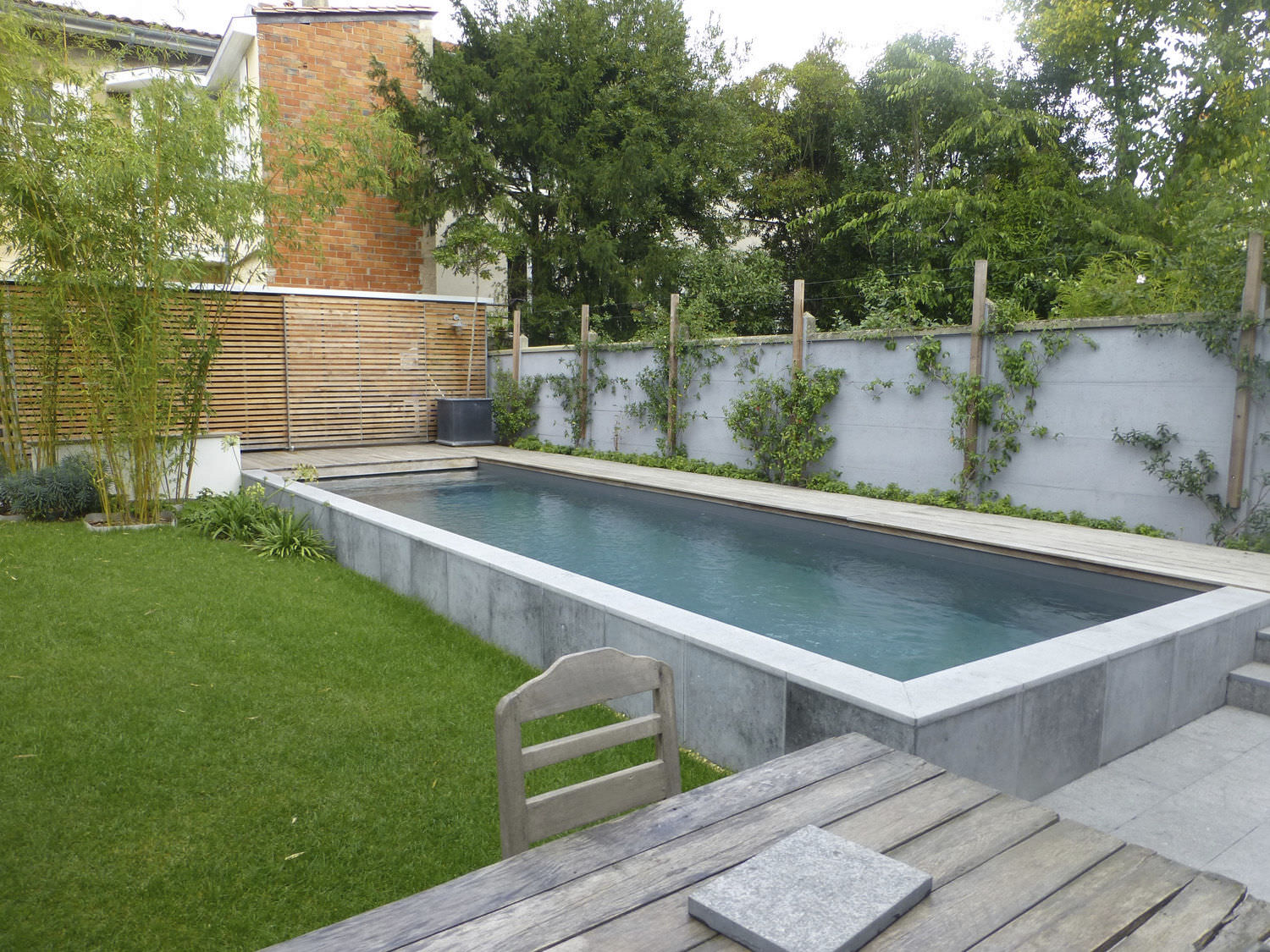 Semi Inground Swimming Pool Concrete Outdoor Bordeaux 2