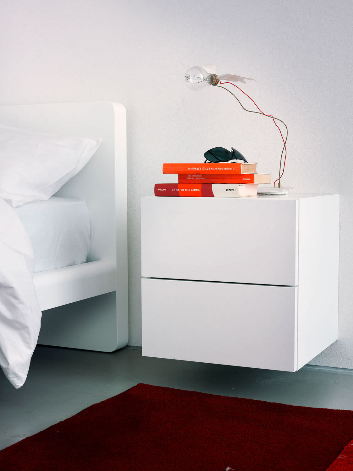 Contemporary bedside table leather wallmounted MARTIN by