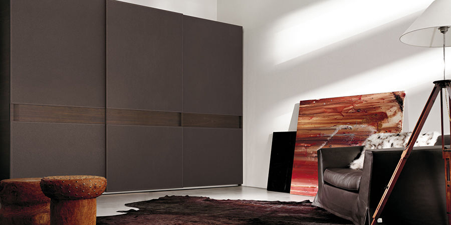 contemporary wardrobe / wooden / leather / with sliding door - ELITE & Contemporary wardrobe / wooden / leather / with sliding door - ELITE ...
