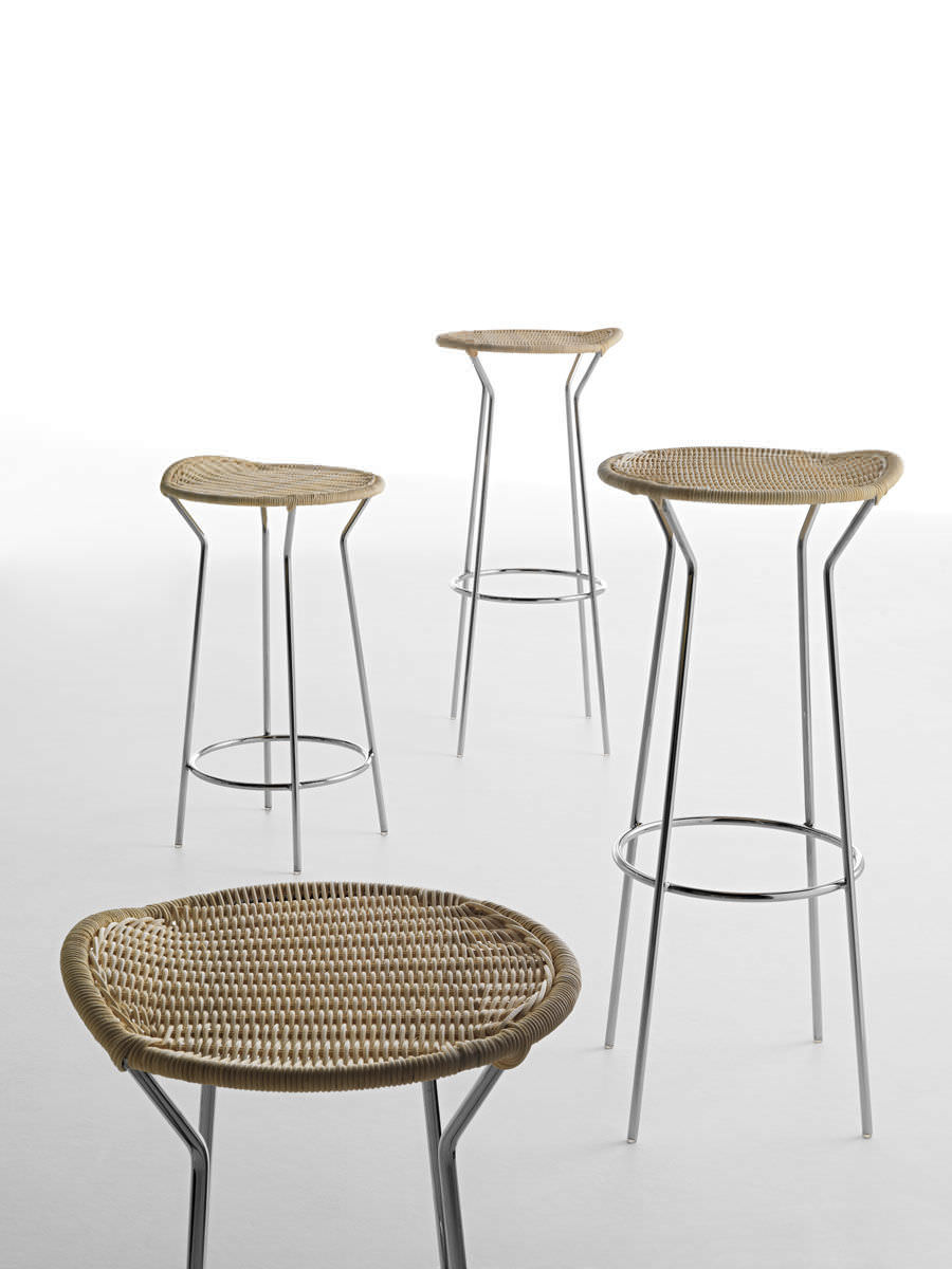 ... Contemporary Bar Stool / Chromed Metal / Rattan / For Public Spaces ...