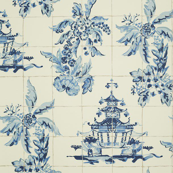 traditional wallpaper / floral pattern / fabric look / gray - PAGODA AND PALMS