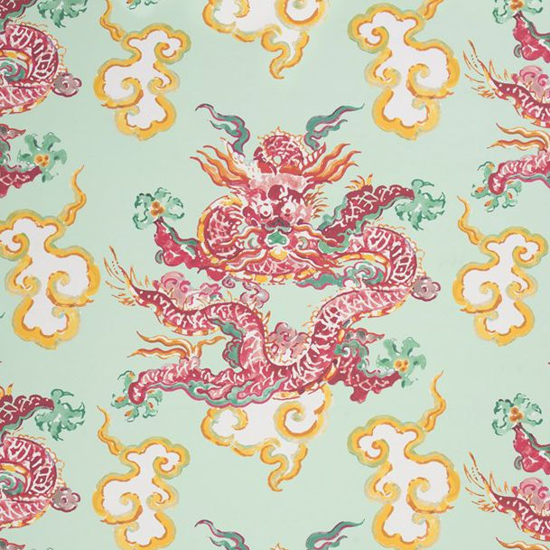 contemporary wallpaper / patterned / fabric look / color - SECOND DYNASTY : DRAGON DANCE