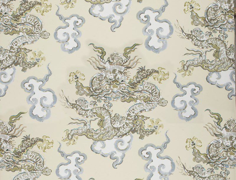 ... contemporary wallpaper / patterned / fabric look / color ...