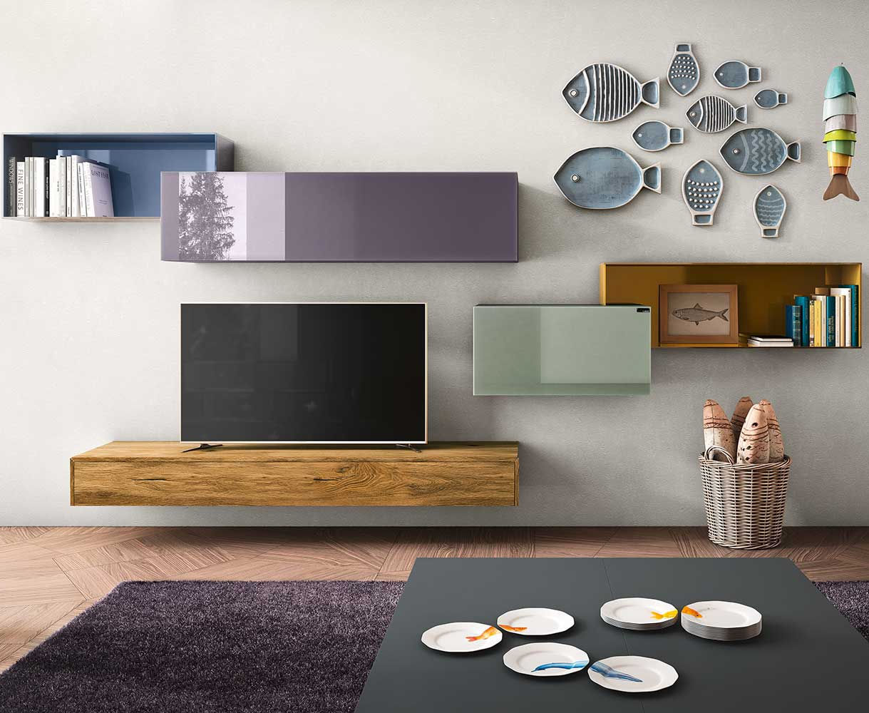 Contemporary TV wall unit / lacquered wood / modular - 36E8 by ...