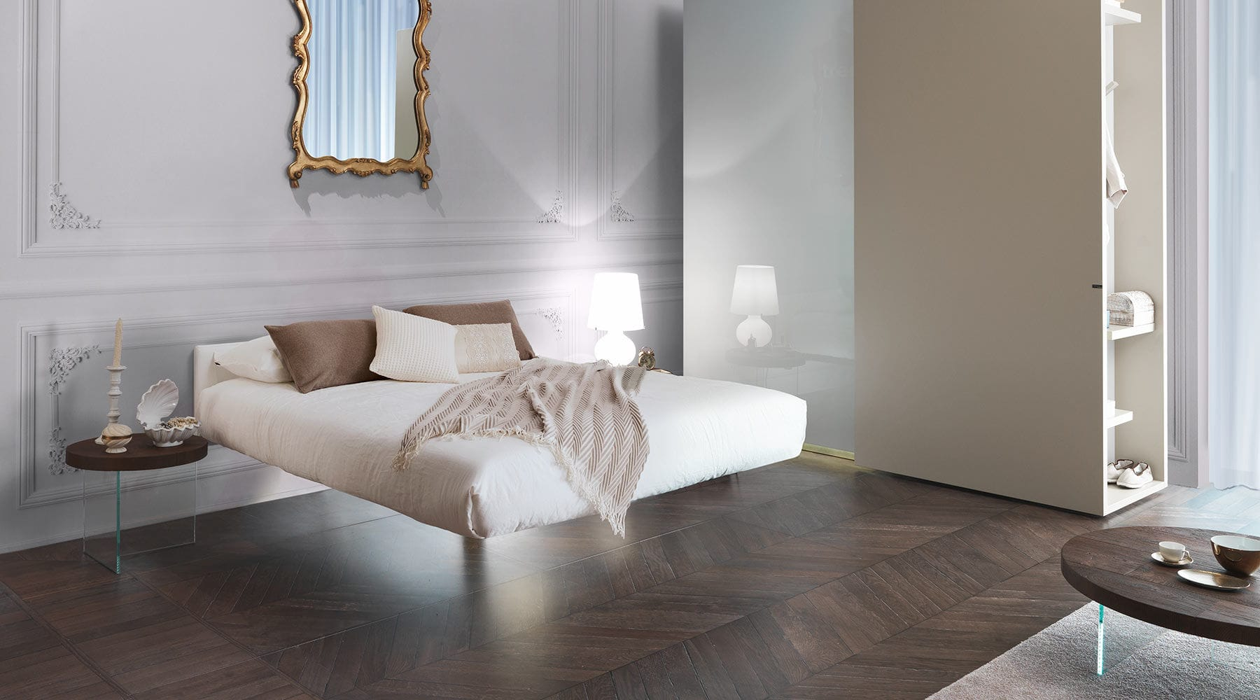 Double Bed Contemporary With Upholstered Headboard Fabric - Lago bed