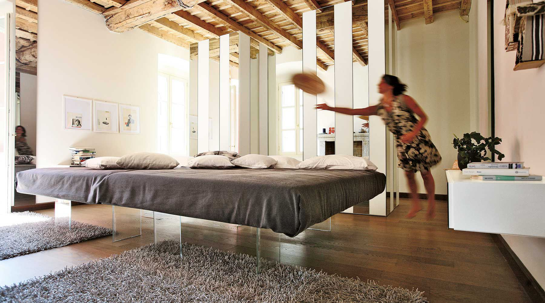 Double bed / contemporary / glass / HPL - AIR by Daniele Lago - LAGO