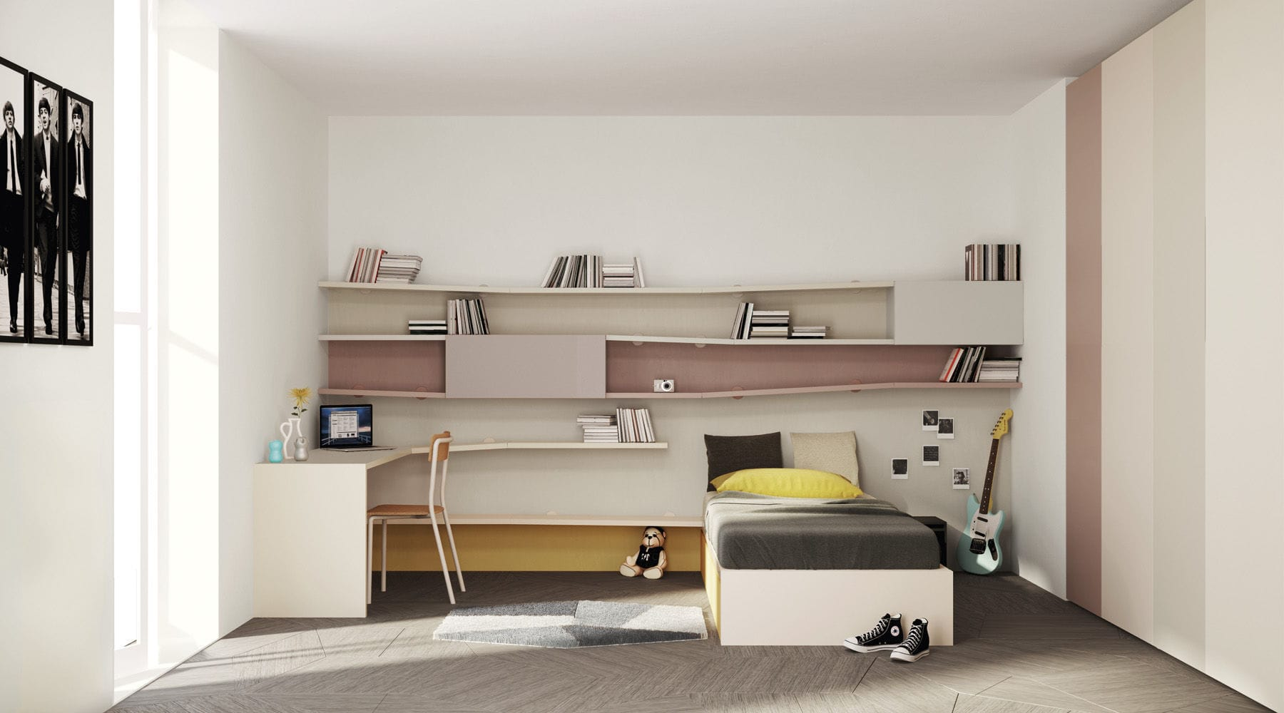 Loft Bed Single Contemporary Childs LAGOLINEA By Daniele - Lago bed