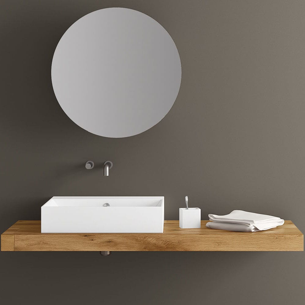 Wall Mounted Mirror Contemporary Round With Shelf