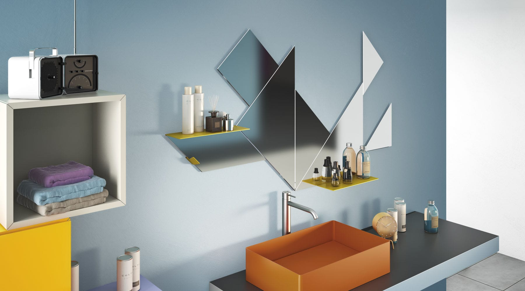 Wall-mounted bathroom mirror / with shelf / contemporary / steel ...