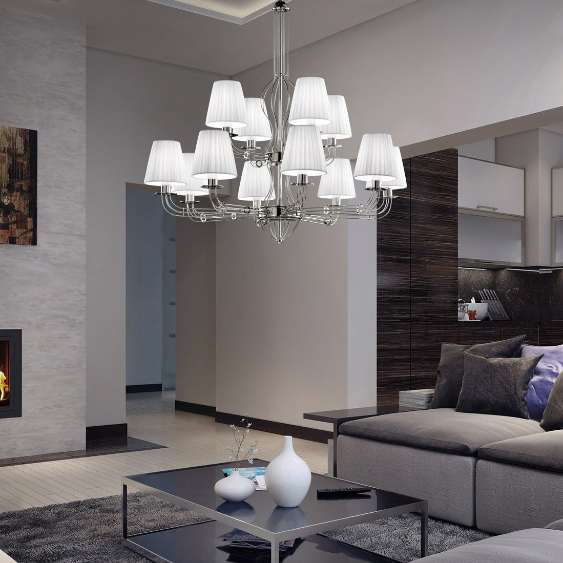 Contemporary chandelier metal fabric led calle metal lux contemporary chandelier metal fabric led calle arubaitofo Image collections