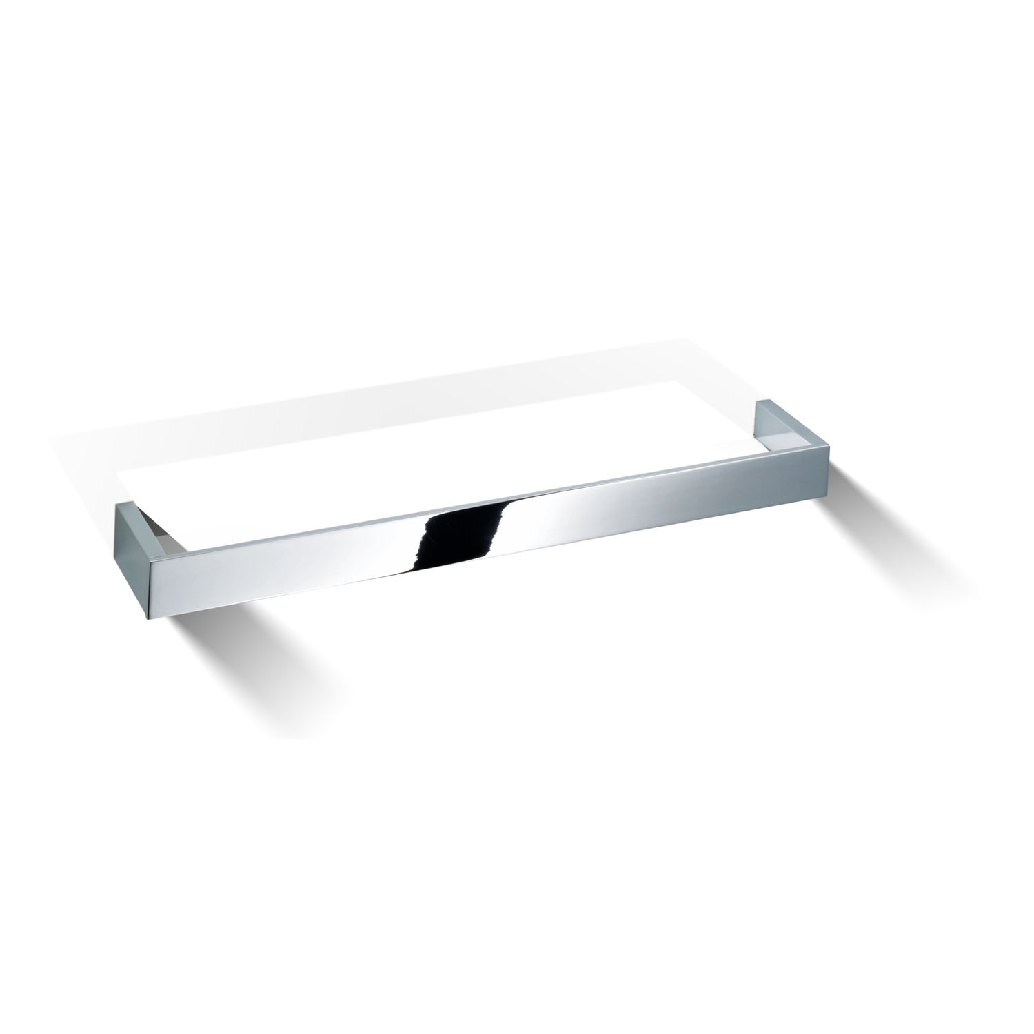 Wall-mounted shelf / contemporary / chrome-plated brass / glass ...