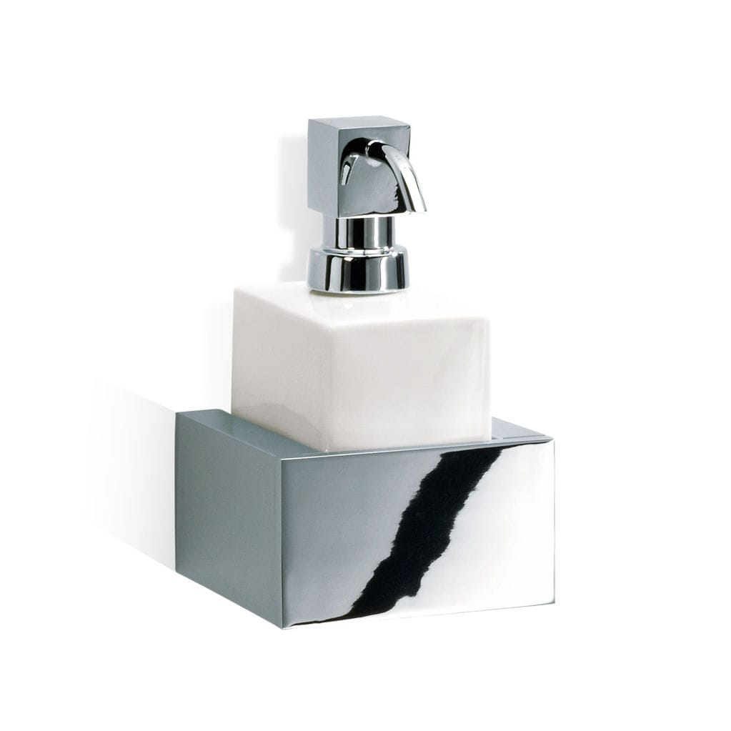 Wall-mounted soap dispenser / chrome-plated brass / manual - BRICK ...