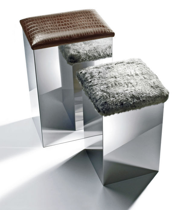 Contemporary Stool Stainless Steel Synthetic Leather With Storage Compartment