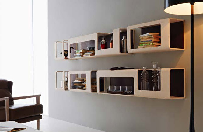 wallmounted bookcase modular wooden cyber by pierpaolo zanchin
