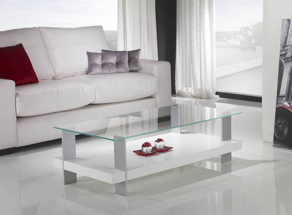 Contemporary Coffee Table / Glass / Rectangular   WHITE
