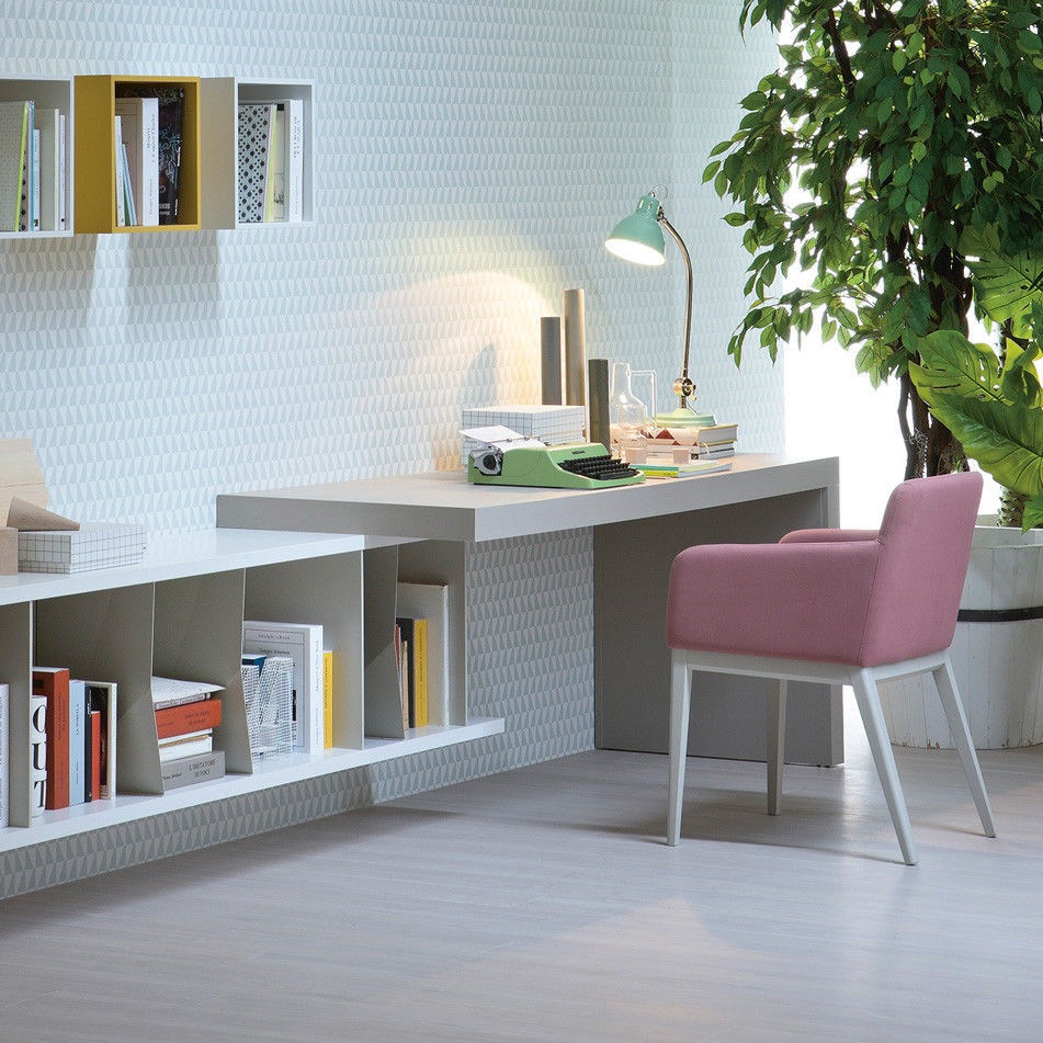 Wooden Desk Contemporary Wall Mounted With Shelf Elle