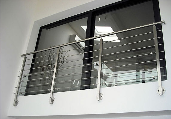 Stainless steel railing / glass panel / with bars / outdoor ...