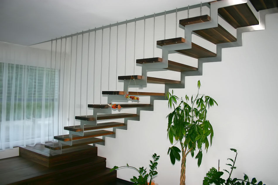 Straight Staircase / Stainless Steel Frame / Wooden Steps / Without Risers