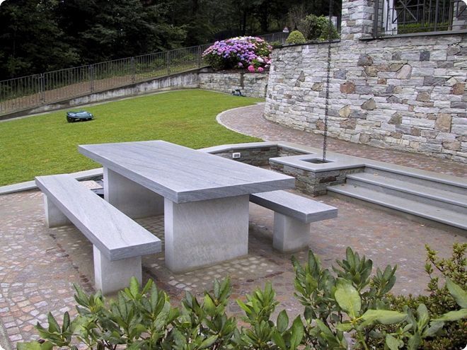 contemporary bench and table set / concrete / garden / for public spaces & Contemporary bench and table set / concrete / garden / for public ...