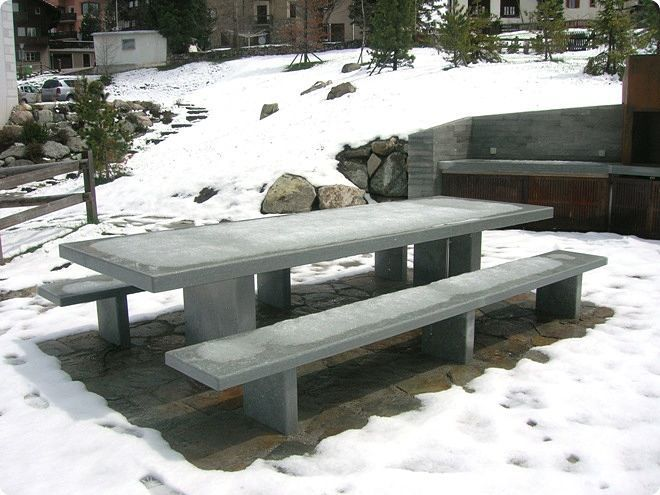 Contemporary Bench And Table Set / Concrete / Garden / For Public Areas  GRANITI CONRAD