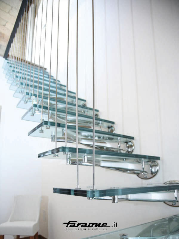 ... Straight Staircase / Glass Steps / Stainless Steel Frame / Without  Risers TWIN By Roberto Volpe ...