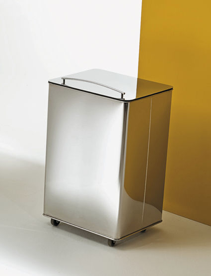 Elegant Public Trash Can / Stainless Steel / With Wheels / Contemporary    DIFFERENZIATA