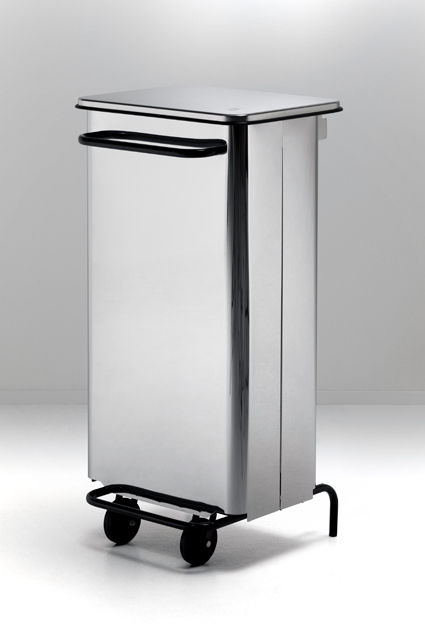 kitchen trash can stainless steel with wheels rettangola