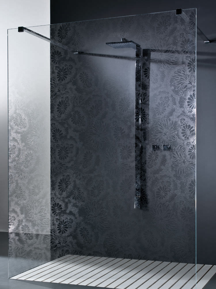 shower glass panel float glass etched patterned kimono cristalli