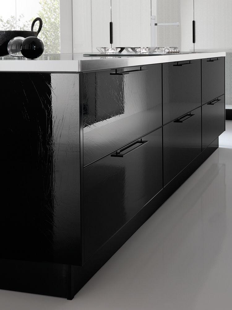 Contemporary Kitchen / Glass / Lacquered   SILK CRISTALLI LAC BLACK