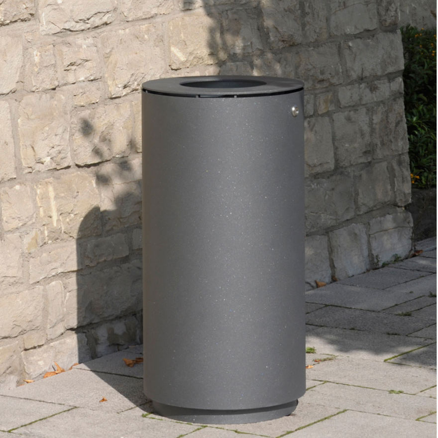 Public trash can / stainless steel / with built-in ashtray ...