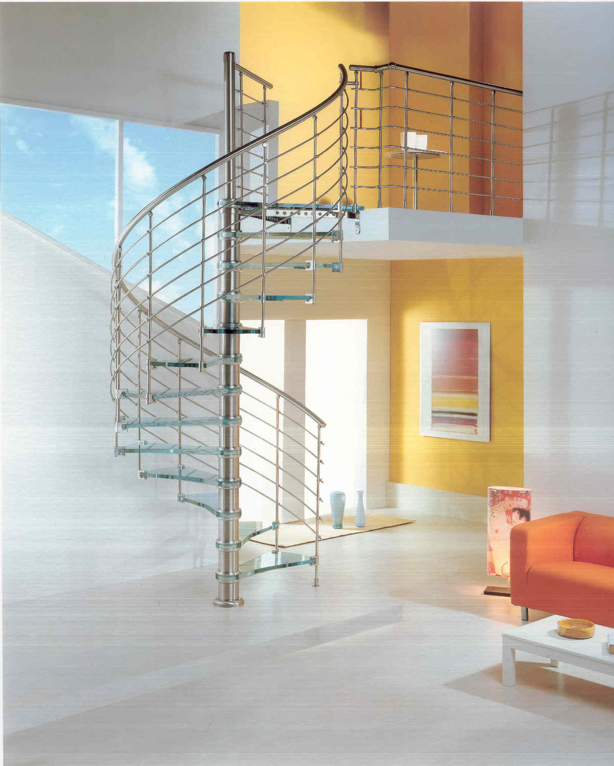 circular staircase   metal frame   glass steps   without risers -  EXCELLENCE   ICE BLUE KRISTALL 146fc7ebb548d