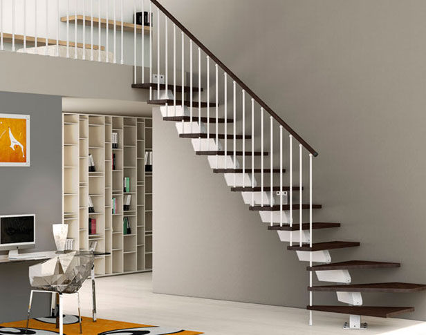 Straight Staircase / Metal Frame / Wooden Steps / Without Risers   ELEGANCE  : UP/CL