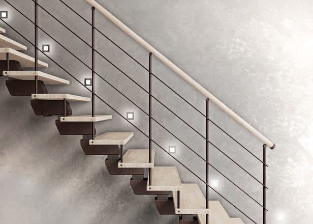 ... Straight Staircase / Wooden Steps / Metal Frame / Without Risers  ELEGANCE : UP/CL ...