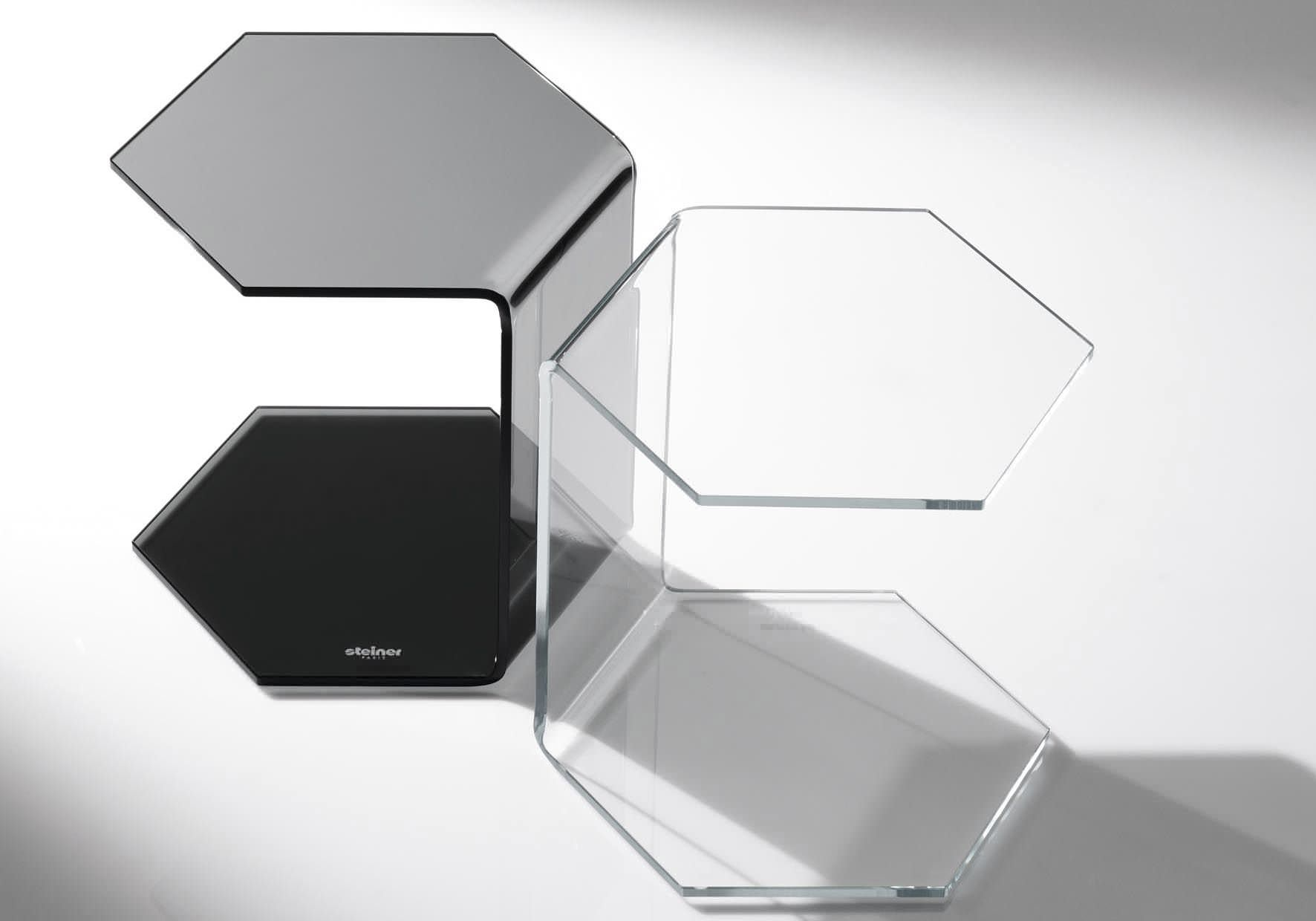 Contemporary Side Table / Glass / Tempered Glass / Hexagonal EXAGON By  Manzoni U0026 Tapinessi Steiner