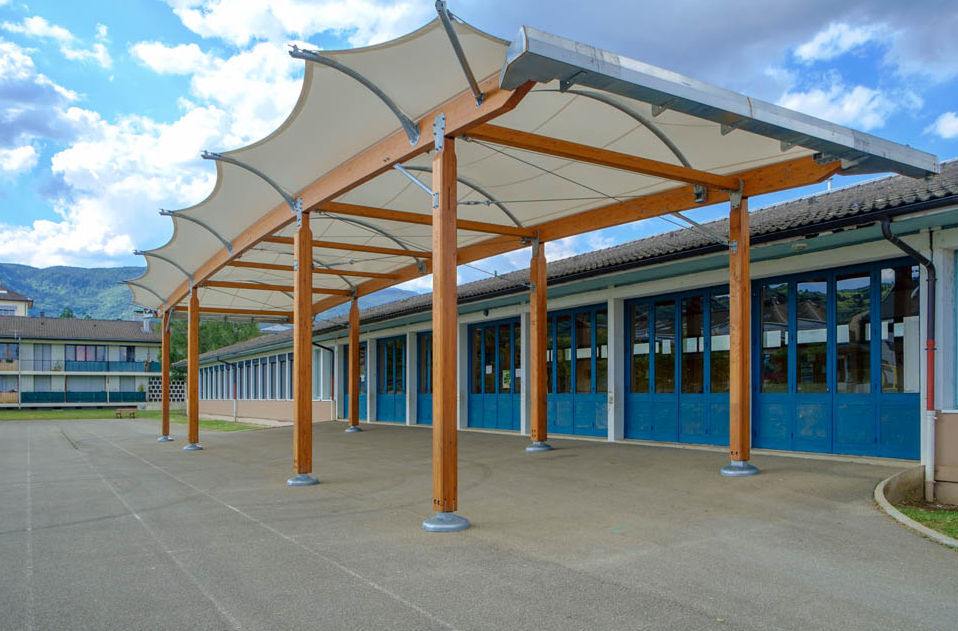 ... Tensile canopy / metal and wooden frame supported / for entrance canopies / with polyester membrane ... & Tensile canopy / metal and wooden frame supported / for entrance ...
