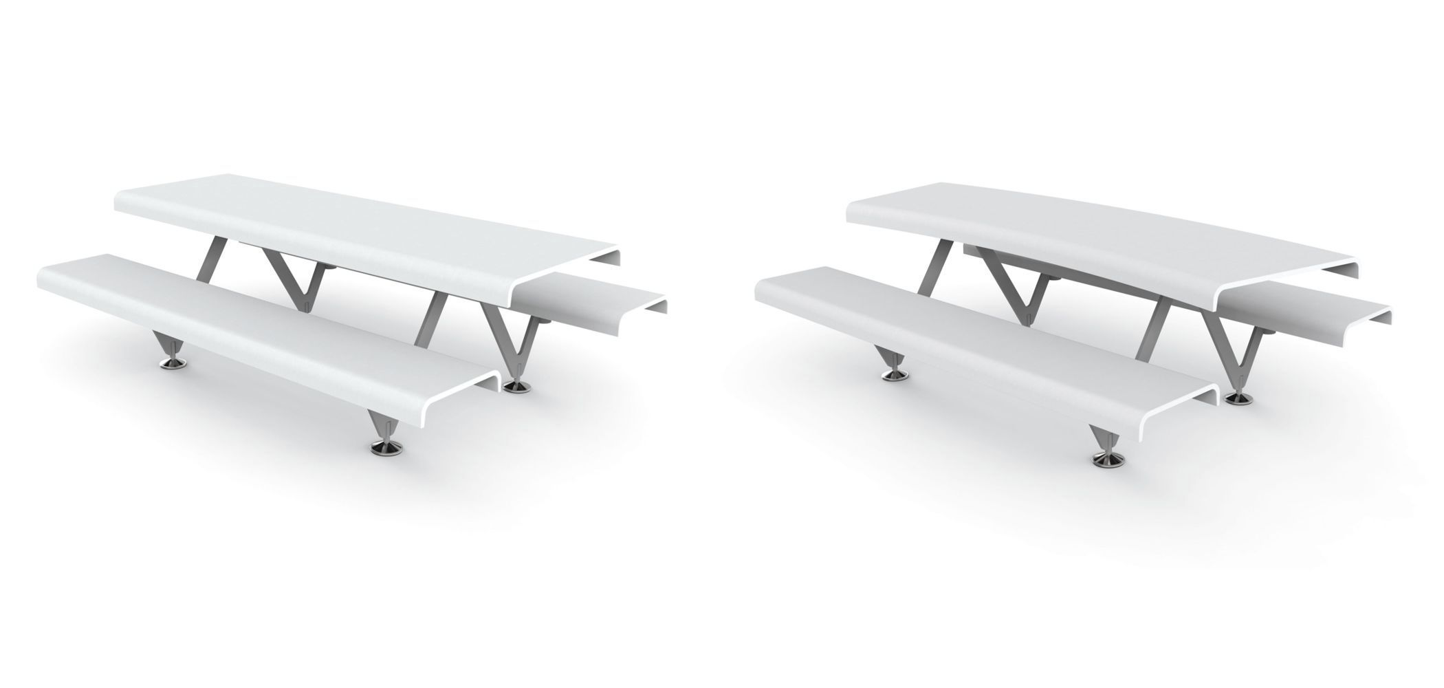 Original Design Bench And Table Set / Contemporary / Steel / Concrete ...