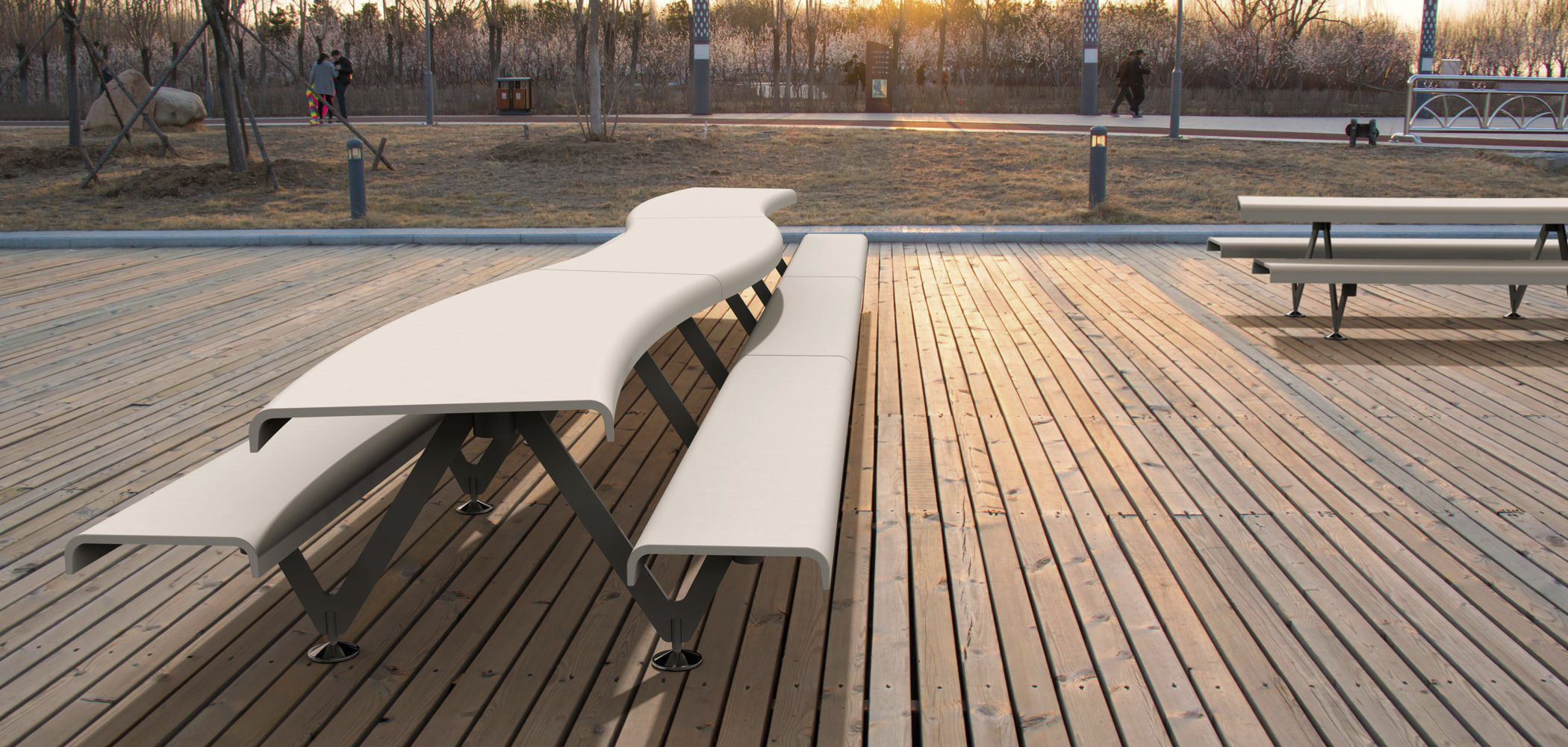 ... Original Design Bench And Table Set / Contemporary / Steel / Concrete  ...