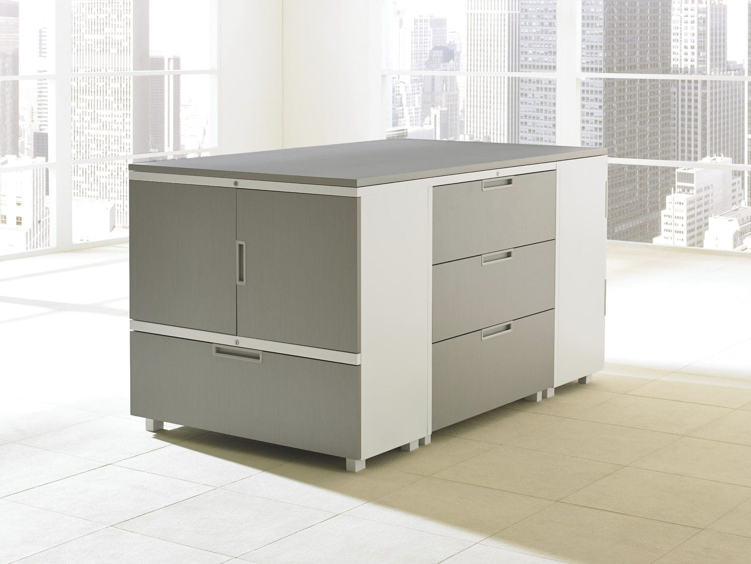 Low filing cabinet / tall / laminate / metal - LEDGER & LEDGER ...