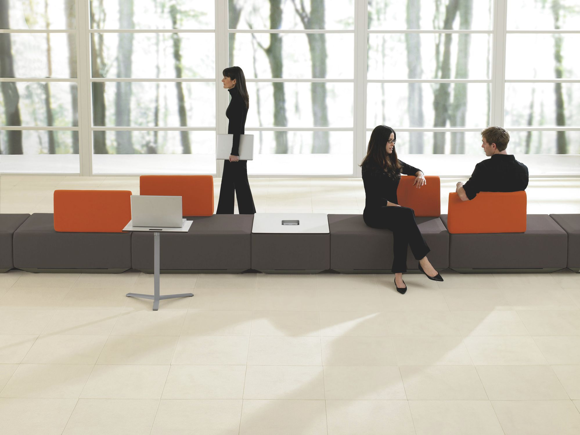 Modular upholstered bench contemporary fabric for public