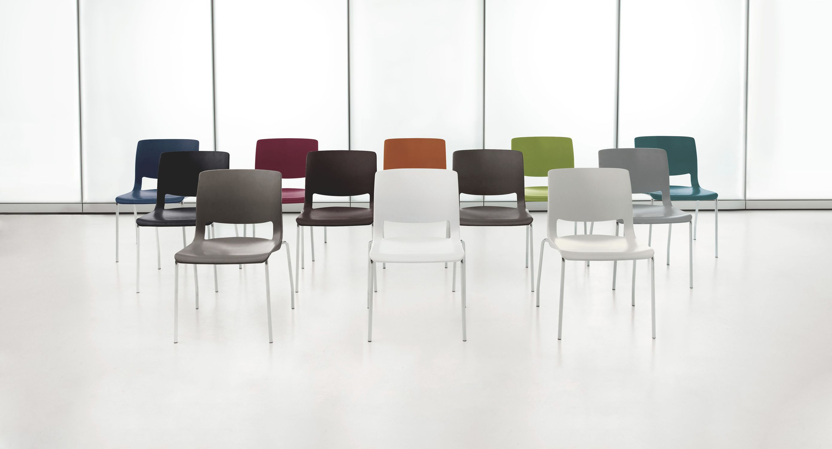 Contemporary visitor chair with armrests stackable plastic