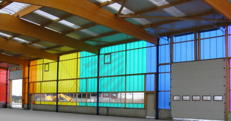 Cellular polycarbonate panel / for partition walls / colored - PC ...