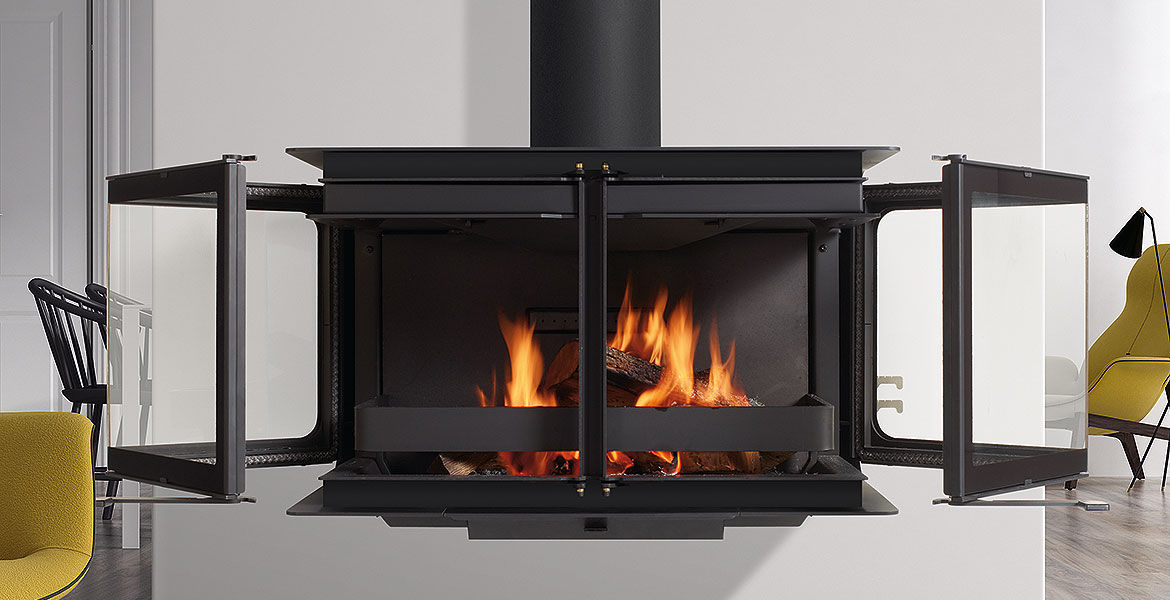 Wood-burning fireplace / contemporary / closed hearth / 3-sided ...