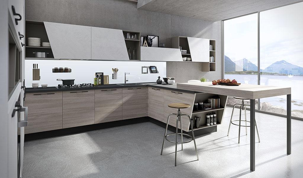 Contemporary kitchen / ash / glass / island - MIA - ARAN Cucine